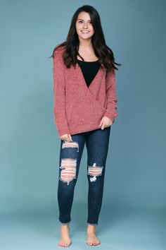 Pink chenille knit sweater. Wear with denim or white jeans.