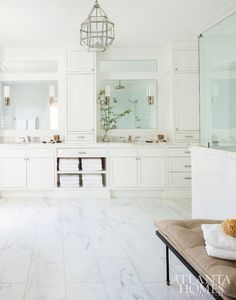 White bathroom. Off-white bathroom. Beuatiful Off-white bathroom with marble…