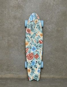 Skateboard - Longboard - Floral print - Pastel. High-End Men's Fashion, Luxury Lifestyle, Health, Sports, Gadgets, Fashion Trends, Outfits, Designers, Latest Fashion Looks, Men's Accessories, Style Blog, Fashion Blog, Men's Wear, Designer Clothing. http://whatiwouldbuy.com/DESIGN+ROLLER+SKATES+AND+SKATEBOARDS+FOR+HIM+AND+HER