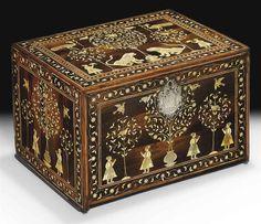 AN INDO-PORTUGUESE IVORY-INLAID CASKE. GUJARAT OR SINDH, 17TH CENTURY