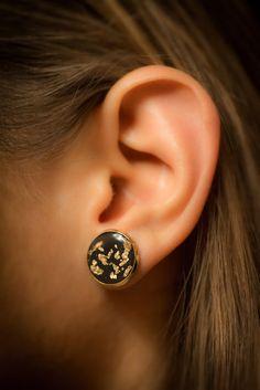Black earrings Stud earrings post earrings resin by ByYaeli