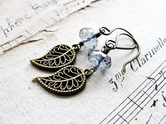 S K Y... Mystic blue quartz and brass leaves by CrowandIris, $19.00