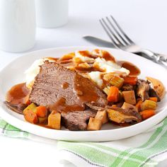 Contest-Winning Mushroom Pot Roast Recipe -Wow! The wine-warmed flavors in this recipe are amazing! Packed with wholesome veggies and tender beef, this is one company-special dish all ages will like. Serve with mashed potatoes to enjoy every last drop of the rich, beefy gravy. —Angie Stewart, Topeka, Kansas