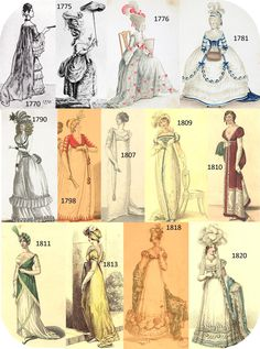 Late 1700s, early 1800s fashion plate. This shows the growth of fashion through the 1700, and 1800's. There is the goth, bustle, and etc...