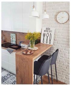 Small Breakfast Bar, Breakfast Bar Table, Breakfast Bars, Breakfast Ideas, Breakfast Nooks, Small Kitchen Inspiration, Very Small Kitchen Design, Design Kitchen, Counter Design