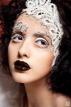 Olga Danilova Makeup | Fantasy Makeup | Brown Lips | with accessories #lace #white #makeup #headpiece #fashion #vintage #blackswan #gorgeous