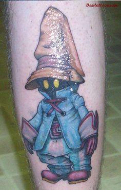 Video Game Tattoos | Glossy Alien Video Game Tattoos On Leg