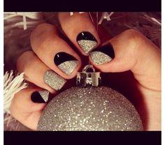 black silver nail art