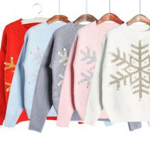 Fashion Winter Christmas Gift Sweater Women Pullover Knitted Slim Sweaters Snowflakes Paillette Pullovers HB88(China (Mainland))