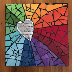 """Not many colours available - said we could paint the glass to make colour we want. How bout I Mod Podge"""" some nice paper onto the manky ones? Mosaic Art Projects, Mosaic Crafts, Mosaic Designs, Mosaic Patterns, Stained Glass Art, Mosaic Glass, Mosaics For Kids, Paper Mosaic, 3rd Grade Art"""