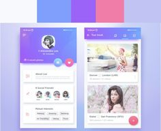 complimentary color gradients in mobile UI designs