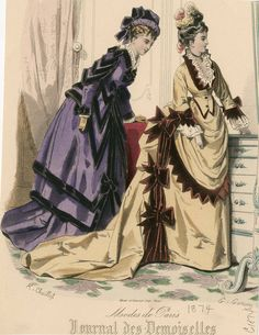Journal des Demoiselles 1874 Victorian Era, Victorian Fashion, Vintage Fashion, 1870s Fashion, European American, 19th Century Fashion, Plate Art, Costume Institute, Fashion Plates