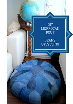 Jeans #upcycling project: A moroccan inspired denim pouf the whole story -in german- in my blog: https://www.biberette.com/blog/