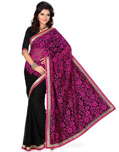 Black and Rani Color Faux Georgette and Net Brasso Saree With Blouse