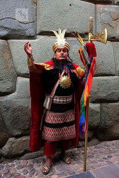 Man dressed as Inca King, Cusco of Ancient Mayan Peru Era