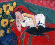Ernst Ludwig Kirchner (1880-1938), Liegende Frau in weißem Hemd (Reclinng woman in a white chemise).