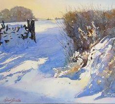 Watercolor Artists, Watercolor Landscape, Watercolour Painting, Landscape Art, Landscape Paintings, Watercolors, Painting Snow, Winter Painting, Winter Szenen