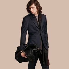 Burberry Slim Fit Travel Tailoring Virgin Wool Navy Birdseye Suit -affiliate