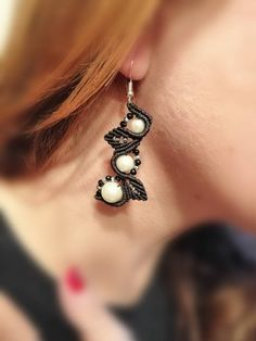 Makramee earrings black white beads silver 925 | Etsy Beaded Earrings, Drop Earrings, Black Silver, Black And White, White Beads, Stones And Crystals, Pearl White, Macrame, Special Occasion