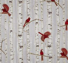 Cotton Woodsy Winter Cardinals Red Birds Birch Trees
