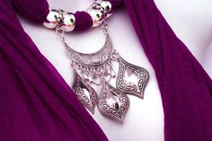Bright Scarf Jewelry Pendant Scarves With by RavensNestScarfJewel, $25.00