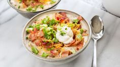 Classic, creamy potato soup, made in the slow cooker with just five ingredients and 15 minutes of prep time. When it's time to eat, load it up with classic baked potato toppings like bacon, green onions and cheese. It's comfort food by the spoonful.