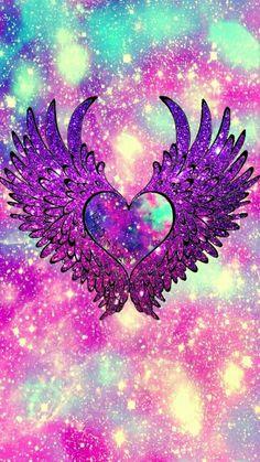Angel heart wings galaxy wallpaper i created for the app cocoppa! Wallpaper World, Unicornios Wallpaper, Cute Galaxy Wallpaper, Cute Wallpaper For Phone, Glitter Wallpaper, Heart Wallpaper, Butterfly Wallpaper, Cellphone Wallpaper, Phone Wallpapers