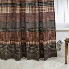 Black And Tan Primitive Shower Curtain Farmhouse Curtains Plaid