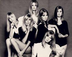 London models, mid-60's: Jenny Boyd, Jill Kennington, Sue Murray, Celia Hammond, Pattie Boyd, Tania Mallet (John French)