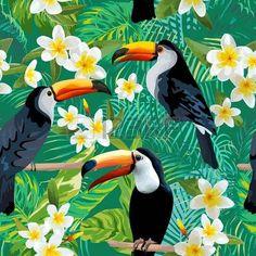 Flores y p jaros tropicales de fondo Toucan Bird Modelo incons til de la vendimia Antecedentes del v Foto de archivo