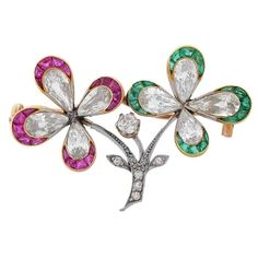 Edwardian Diamond Double Four Leaf Clover Flower Brooch | From a unique collection of vintage brooches at https://www.1stdibs.com/jewelry/brooches/brooches/
