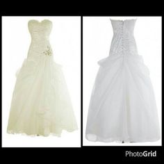 Neckline: Strapless Silhouette: Mermaid/Trumpet Fabric: Organza Color: Ivory Sleeve: Sleeveless Hemline/Train: Floor-Length Waist: Dropped Embellishments: Ruching  Please specify white or ivory in comment section at checkout.