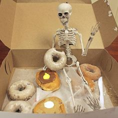 "Thanks for bringing us these donuts, Skeleton! Thanks for the treat!  The Skeleton in the Closet ™ is a special Halloween visitor that awakens each year to monitor your Halloween spirit with their own ""tricks"" and 'treats."" #theskeletoninthecloset #AHalloweenTradition #SkeletonintheCloset #trickortreat #HappyHalloween #HalloweenSpirit  Follow the link in our bio to order your Skeleton today! And don't forget to help #NameOurSkeleton!"