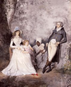 This wealthy family's wealth is apparent as they can afford a little slave girl to care for their infant so that the lady of the house doesn't have to sully herself with such mundane tasks. 18th Century Dress, 18th Century Costume, 17th Century, Couple Painting, Family Painting, Couple Portraits, Child Portraits, Old Paintings, Renaissance Art