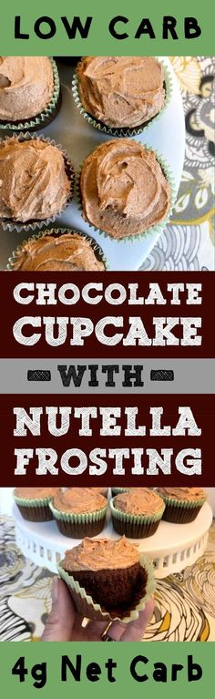 This recipe for Chocolate Cupcakes with Nutella Frosting is Low Carb, Keto, Paleo, THM, Atkins, Banting, LCHF, Sugar Free and Gluten Free. It's time to Treat Yo Self to a cupcake.
