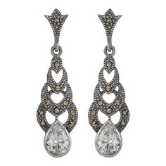 Silver and #marcasite #ArtDeco style #earrings. #marcasitejewellery #bridalearrings #weddngearrings #marcasiteearrings #crystaldropearrings #teardropearrings Available from Lulu and Belle.  €69