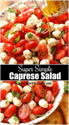 Garden fresh tomatoes and herbs tossed with mozzarella in a two ingredient dressing might just be the most simple, most delicious salad ever! Things this good just don't need to be complimented. Super Simple Caprese Salad - A Southern Soul Aubergine Mozzarella, Mozzarella Salad, Tomato Basil Mozzarella, Recipes With Mozzarella, Recipes With Fresh Tomatoes, Mozzarella Pearls, Cherry Tomato Recipes, Tomato Salad Recipes, Caprese Salat