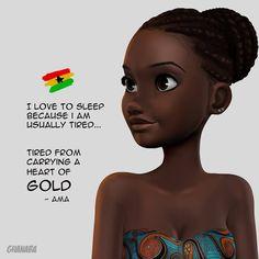 Black Cartoon Characters, Black Girl Cartoon, Black Girl Art, Black Women Art, Black Girl Magic, Art Girl, Ghana Art, Black Art Pictures, Black Artwork