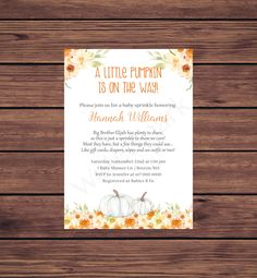 Baby Sprinkle Invitations, Photo Invitations, Digital Invitations, Printable Invitations, Baby In Pumpkin, Little Pumpkin, Boy Printable, Photo Center, Fall Baby