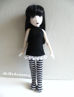 EMILY THE STRANGE Goth DRESS & B&W LEOTARDS Clothes Handmade Fashion NO DOLL