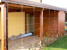 Seilsystem 8010 modifiziert, einfacher Bausatz, Wandösen, Seilspanner und Kreuzklemmen, als Einflechthilfe für Efeu.