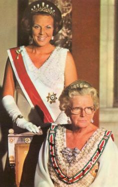 Queen Juliana and her eldest daughter Princess Beatrix (on April 30, 1980 Beatrix became Queen) of the Netherlands