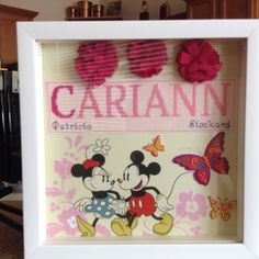 Ombré cross stitched name with Mickey & Minnie