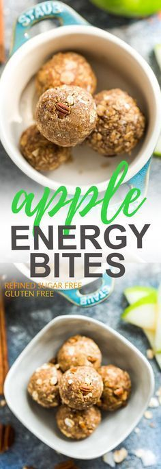 Apple Cinnamon Energy Bites - the perfect easy and healthy no bake snacks for on the go or after a workout! Best of all, no refined sugar and super easy to customize and make ahead for packing into school or work lunchboxes. Full of cozy fall flavors with