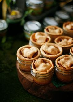 Tiny apple pies baked in jars