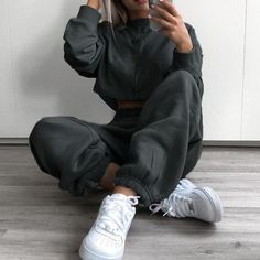 Rockmore Harajuku Joggers Wide Leg SweatPants Women Trousers Plus Size High Waist Pants Streetwear Korean Casual Pant Femme Fall - Cute Outfits Cute Lazy Outfits, Chill Outfits, Sporty Outfits, Mode Outfits, Trendy Outfits, Fashion Outfits, Casual Church Outfits, Winter School Outfits, Movie Night Outfits