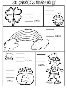 Patrick's Day (freebie) - Math - Measurement: Rowdy in Room 300 Preschool Math, Kindergarten Classroom, Kindergarten Activities, Fun Math, Classroom Activities, Teaching Math, Teaching Ideas, Educational Activities, Teaching Resources