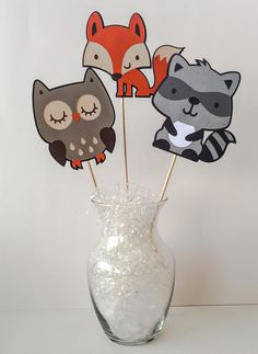 Woodland Theme Centerpieces-Forrest Critter Centerpieces-Forrest Friends Decor-Woodland Baby Shower-Woodland Party Decorations by GreyMonet on Etsy https://www.etsy.com/listing/232326080/woodland-theme-centerpieces-forrest
