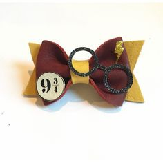 Harry Potter Leather Hair Bow worh glasses and Lightning Bolt Hogwarts ($15) ❤ liked on Polyvore featuring accessories, hair accessories, hair bows, bow headbands, bow hair accessories, head wrap headband and hair band accessories