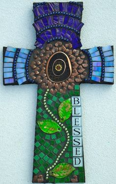 Mosaic Cross Blessed by BrokenBeautyMosaics on Etsy, $199.00